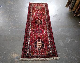 Persian Rug - 1990s Hand-Knotted Karaja Persian Rug Runner (3585)
