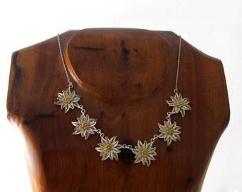Vintage Silver Filigree Flower Necklace, Filigree Edelweiss Necklace, 800 Silver Necklace