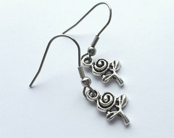 Silver Rose Earrings with Stainless Steel Earwires - Tibetan Silver - flower - garden