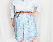 CLEARANCE - FINAL SALE - Plus Size - Vintage Pastel Floral A-Line Skirt (Size 18)