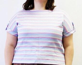 CLEARANCE - FINAL SALE - Plus Size - Vintage Pastel Stripe Dolmen Sleeve Knit Blouse (Size 14/16)