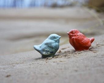 Miniature BIRD / Ceramic SPARROW / Gilded Bird / Small Bird / Love Bird / Gift / Shelf sitter