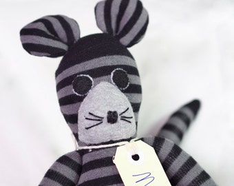 Marc Mouse. Sock toy, sock mouse for young child.  Plush toy animal. Softie.