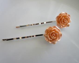Pastel Pink Rose Bobby Pins - Pastel Pink Wedding Hair Clip - Bridal Hair Clips - Large Pastel Pink Rose Flower Bobby Pins - Roses for Hair
