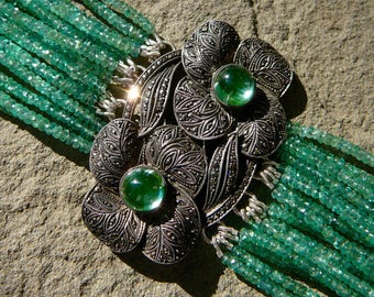 Emerald Bracelet, Art Deco Bracelet, Art Deco Jewelry, Emerald Jewelry, Repurposed Jewelry, Emerald, Art Deco Brooch, Theodor Fahrner Brooch