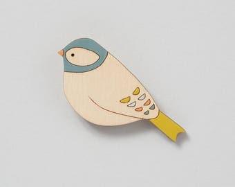 Wooden Bird Brooch - Chaffinch