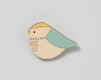 Wooden Bird Brooch - Bluetit