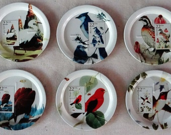 Vintage Set of 6 Metal Coasters Featuring Artwork of 22 Cent Bird Stamps from The United States Postal Service from 1996