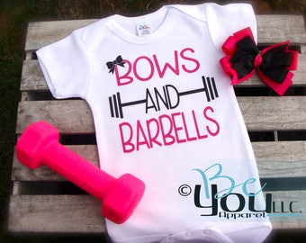 Bows and Barbells; weight lifting; curls; workout shirt; custom clothing; hipster clothing; baby girl; funny; cute; novelty; baby clothing