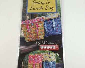 The Going to Lunch Bag Pattern - Go Fish Pattern by Fishsticks - Fast Fun Easy Pattern - Great for School or Work - Sewing Project - DIY
