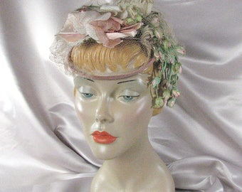 1950s Pink Rose Mini Hat /Fascinator with Dangling Rosebuds......  size Small to Medium