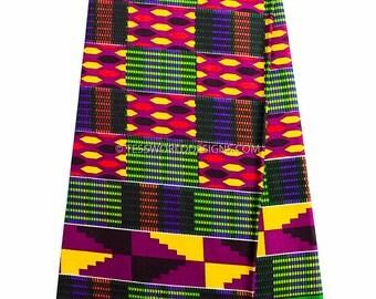 Best Kente cloth, Wholesale/ Kente print fabric/ Kente fabric/ Kente print / African fabric/ Green, purple 6 yards  May KF291