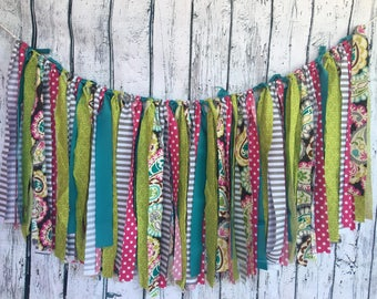 Lime Green, Teal and Beery colored fabric bunting 5'