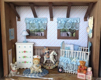 Miniature Baby's Room Shadow Box