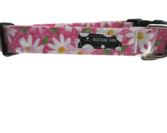 Dog Collar...The love of Daisy, daisy dog collar, pink daisy collar, girl collar, flower collar, white daisy collar