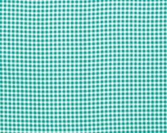 Aqua Petite Gingham by Verna Mosquera for Free Spirit Fabric Aqua Fabric Aqua Gingham Fabric Modern Fabric Aqua and White Fabric Check Plaid