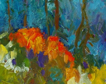 Original abstract landscape oil painting art impasto impressionist painting on canvas