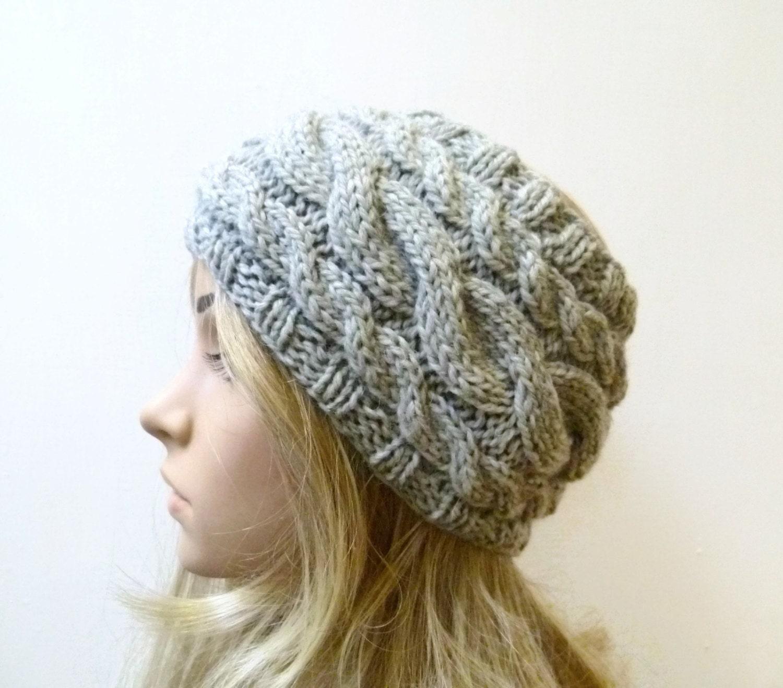Chunky Wool Cable Headband Women's Knit Headband Grey