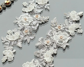 1 PAIR,Rose gold flower lace, lace crytsal applique, Wedding bridal applique, Off White embrodiery rose lace,Lingerie lace, Rhinestone lace