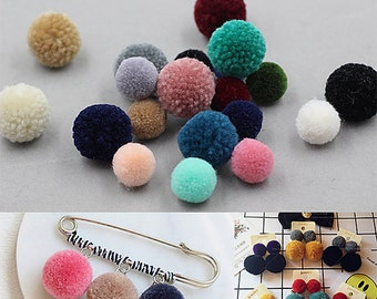 30Pieces, Faux Fur Pom Pom, Furry Pom Pom, Small Pom Pom, Fur Ball, Pom Pom Earrings Necklace DIY, Pom Pom Pendants, Pom Jewelry Supplies