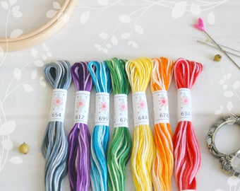"Embroidery Floss ""Taffy Pull Pallete"" - 7 Skeins Pack - Embroidery Thread by Sublime - Sublime Stitching - Embroidery Floss - Cotton Thread"