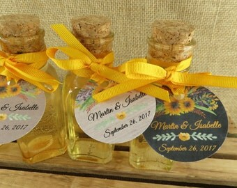 Vintage Style Honey Bottles With Corks And Personalized Yellow Watercolor Floral Design Tags - DIY Honey Wedding Favors - 24 - wfy