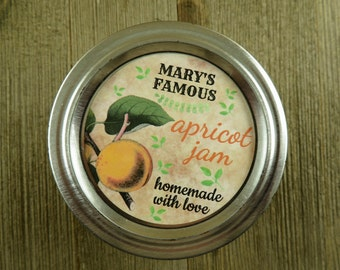 Personalized Canning - Vintage Apricot Design - 20 4 Oz  Mason Jars Jars or 12 8 Oz Square Mason Jars With Custom Sticker Labels - vfc