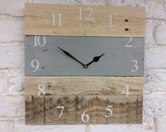 Wood Clock - Large Wall Clock - Rustic Clock - Chalkpaint Clock - Farmhouse Clock - Reclaimed Wood Clock - Paris Grey
