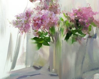 Large Painting of Lilacs Oil Artwork on Canvas, Painting Flowers Art, Floral Painting, Still life art Pink Painting