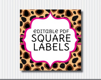 Editable PDF Printable - Cheetah Square Label / Sticker / Tags - DIY - Hot Pink Lining