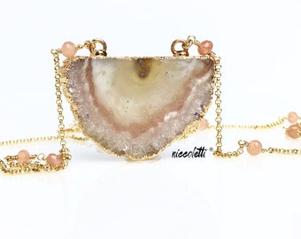 Peach Moonstone Stalactite Necklace / Wanderlust Jewelry / Bohemian Necklace / June Birthstone Gift for Her / Long Gold Druzy Bar Necklace
