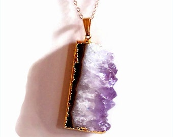 SALE - 25% Off Original Price Gold Electroplated Amethyst Slice Pendant Necklace 18""