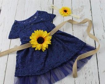 Rustic Navy Flower Girl Dress Sunflower Flower Girl Dress Navy Flower Girl Dress Sunflower Sash Navy Jr Bridesmaid Dress Country Flower Girl