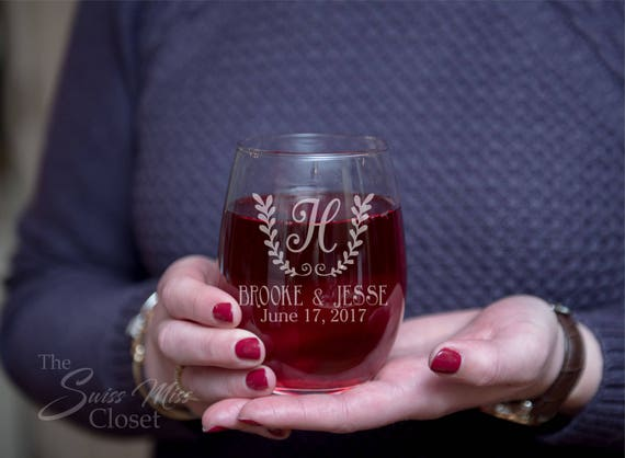 Set of 2 Custom Etched Wedding gift Stemless Names and Monogram Letter With Date Wine Glass Wedding