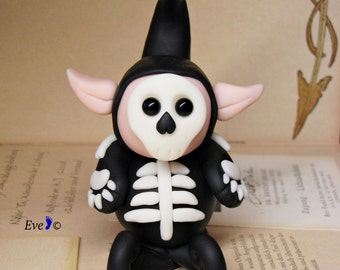Handmade Halloween Decor, Miniature Glow in The Dark Skeleton, Elf Figurine, Skeleton Costume, Whimsical Fantasy Sculpture in Polymer Clay