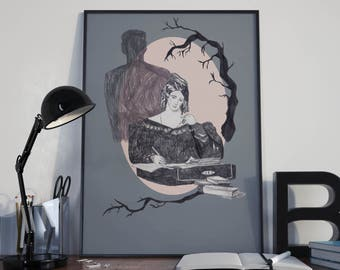 Mary Shelley and Frankenstein Print