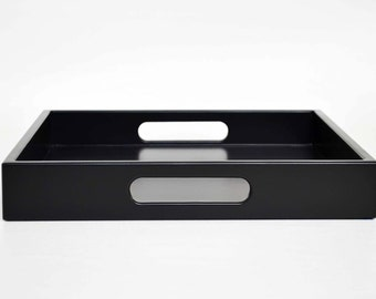 Black 12 x 12 Lacquer Serving Tray Wood Ottoman Tray Decorative Coffee Table Tray