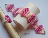 RESERVED for Isabelle!!! Purple/Pink/White Beadwoven Ring & Bracelet