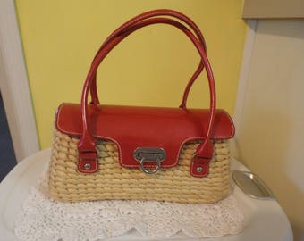 Adorable Vintage Red Straw Purse