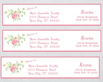 Peony Bouquet Wrap Around Address Label