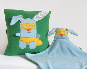 Set of Throw Pillow and Security Blanket, Superhero Set, Bunny Rabbit, Blue and Green Pillow, Newborn Baby Gift Idea, Baby Shower Gift Boys