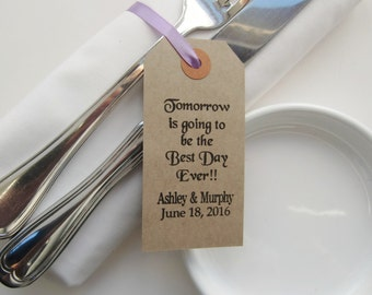 Tomorrow Is Going to Be-Rehearsal Dinner Table Decor-Rehearsal Dinner Ideas-Rehearsal Dinner Favors-Vintage Type Tags with Ribbon--Weddings