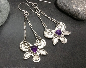 Deep dark purple amethyst earrings, solid sterling silver hand shaped pieces hanging from handmade chains, one of a kind, dangle style