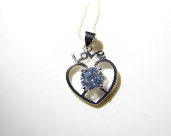 Rhodium Cubic Zirconia Love Heart Pendant