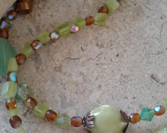 Green Amber Double Tiered Handcrafted Beaded Necklace