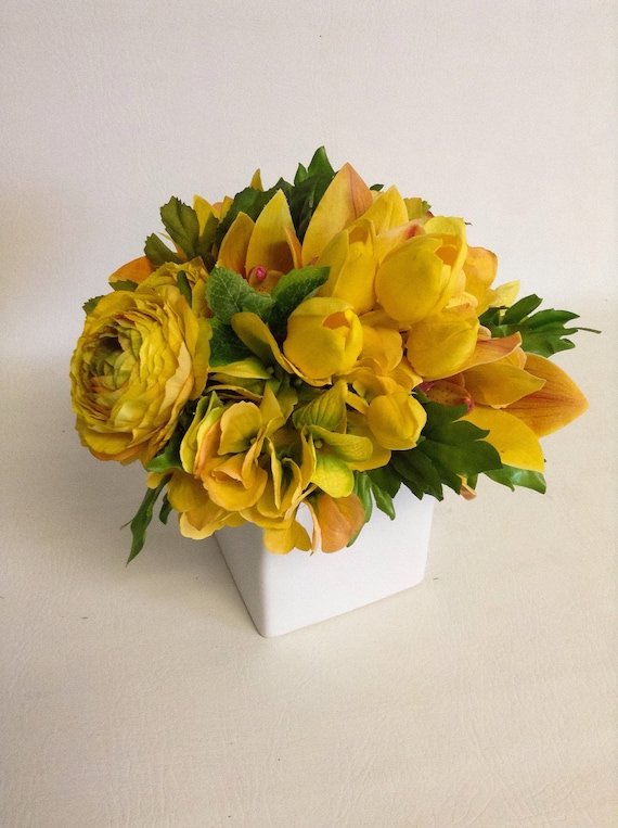 Spring Flower Arrangement / Yellow / Faux / Artificial Arrangement