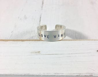 Personalized Sterling Silver Ring - Hand Stamped Custom Ring  - Mantra Ring - Yoga Ring - Inspirational Jewelry Mom Ring - Mothers Day gift