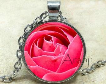 Pink rose necklace, pink rose pendant, rose necklace bright pink rose, pink, rose pendant, mom gift, pink flower, pendant #PL203P