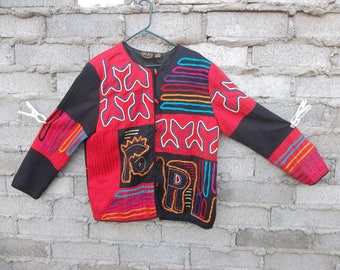 Vintage Jacket Folk Art Embroidered Patchwork African Aboriginal Inspired Native Peasant Nomad Hippie Festival Clothing sz XL Glass Buttons