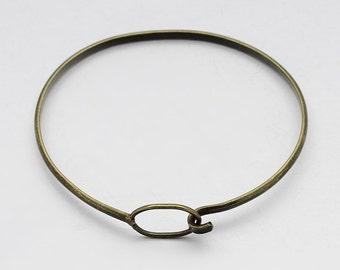 1PCS Antique Bronze Bangle Bracelet Hook & Eye Closure